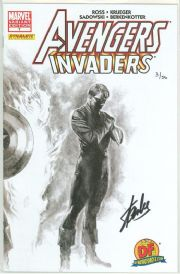 Avengers Invaders #7 Alex Ross Sketch Variant Dynamic Forces Signed Stan Lee DF COA #3 Marvel comic
